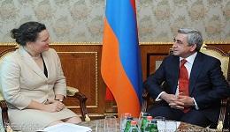 Նախագահ Սերժ Սարգսյանն ընդունել է ՄԱԿ-ի Զարգացման ծրագրի ղեկավարի տեղակալ Կորի Ուդովիցկիին