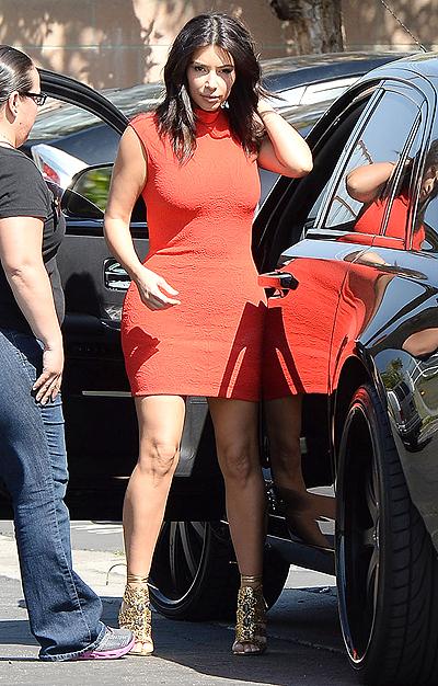 Kim Kardashian arriving at a studio in Los Angeles