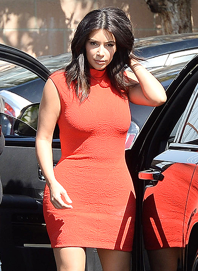 Kim Kardashian arriving at a studio in Los Angeles