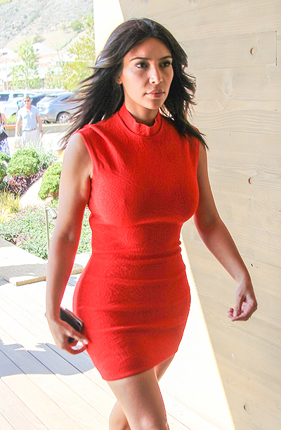Kim Kardashian, wearing a bright red figure hugging dress, goes to lunch at Nobu Malibu after stopping at a studio Featuring: Kim Kardashian Where: Los Angeles, California, United States When: 14 Mar 2014 Credit: WENN.com