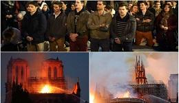 Այրվող Փարիզի Աստվածամոր տաճարի ֆոնին ֆրանսիացիները ծնկի են իջել և «Ավե Մարիա»-ն երգել
